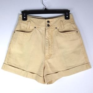 Vintage 90s Nuovo Yellow High Rise Shorts Sz 26